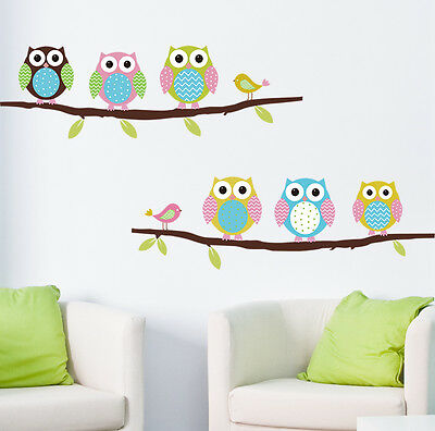 Home Decor Owl Birds Branch PVC Removable DIY Wall Sticker Room Vinyl Decal L7S