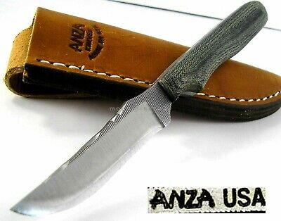 Anza USA Skinner Hunter File Work Green / Grey Canvas Micarta Handle Knife AZNKM