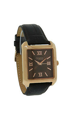 Caravelle by Bulova 44A100 Men's Roman Numeral Rose Gold Tone Leather Watch