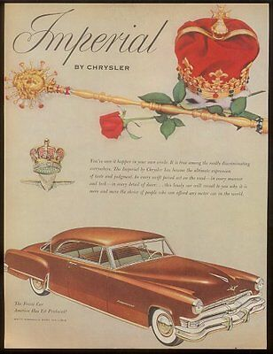 1952 Chrysler Imperial coupe car vintage print ad
