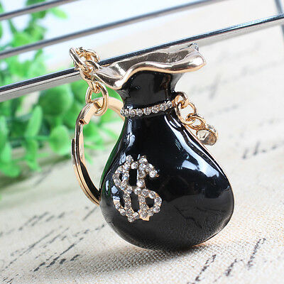 Black Money Bag Wallet Fashion Pendant Charm Crystal Key Ring Chain Lucky Gift