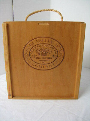 """Napa Valley Box Company 24 Cassette Stamp Pads Sliding Lid Rope Handle 10 3/4"""""""