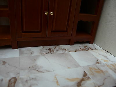 "100 Marble-esque 1:12th Scale 1"" CAPPUCCINO Marble Effect Dolls House Floor Tile"