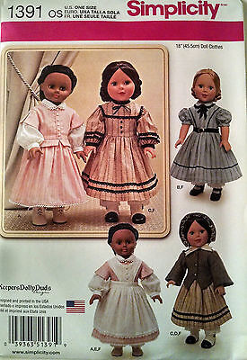 """AMERICAN GIRL 18"""" DOLL CLOTHES PATTERN CIVIL WAR DRESS NEW ADDY CECILE"""