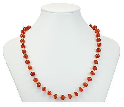 Carnelian Necklace Faceted 14k Gold Fill Orange Bead Chain 24 Natural Chalcedony