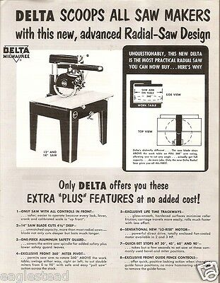 """Tool Brochure - Delta - 12 14 16"""" Radial Saw - Price Lists 1950's 5 items (TL06)"""
