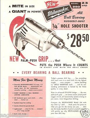 Tool Brochure - Milwaukee - 250 Hole Shooter Drill - 614 Sawzall c1950's (TL07)