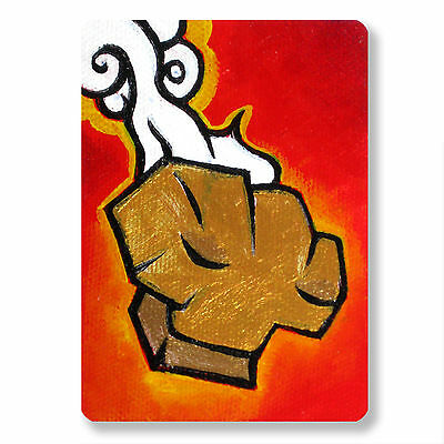 Original ACEO Acylic Painting COOL GOLDEN NUGGET Yellow Red collectible E Black
