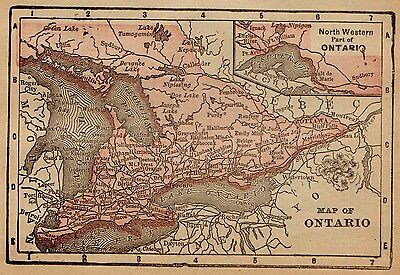 RARE 1890 Antique ONTARIO Canada Map  RARE MINIATURE Map of Ontario 1371