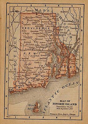 1888 Antique RHODE ISLAND  Map RARE MINIATURE Vintage State  Map 1372