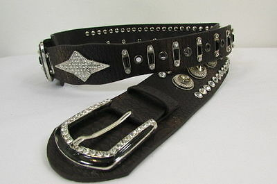 Women Brown White Leather Western Fashion Bling Hip Waist Belt Double Buckle S M
