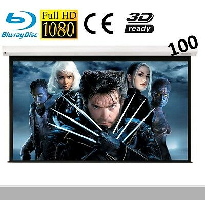 """Visualax Electric Motorized HD 100"""" TV Cinema Projector Screen with Remote"""
