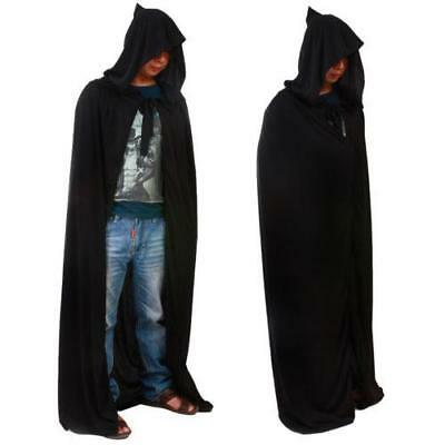 Pop Black Hooded Cloak Cape Long Vampire Halloween Fancy Dress Wedding Wicca Z