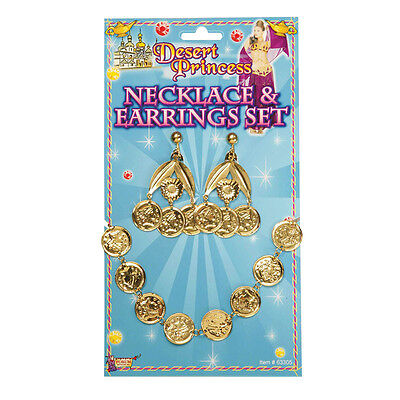Desert Princess Coin Necklace And Earrings Set Fancy Dress Accessory