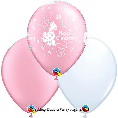 30 Girls Happy Christening Pink & White Helium / Air Balloons Party Decorations
