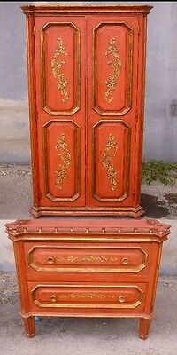 Chic Painted & Gilt Italianate  Continental Cabinet On Chest Like In Elle Decor