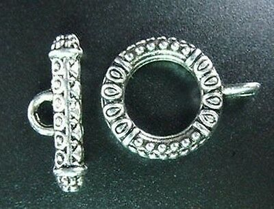 10 Sets Tibetan Silver Ornate Circle Toggle Clasps R211