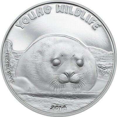 $5 Dollar Young Wildlife Seal Cook Islands 1 oz .999 fine Silver 2014 Proof