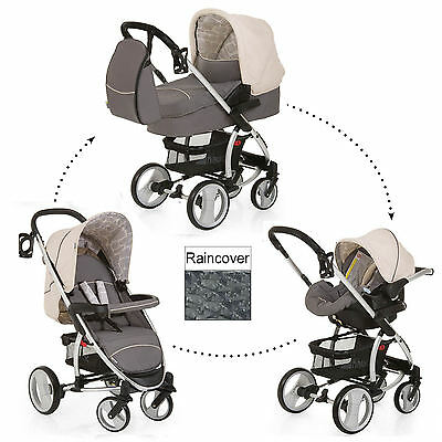 New Hauck Malibu Xl Rock All In One Travel System Pushchair Carseat Carrycot