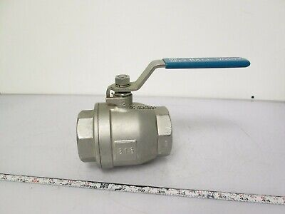 "2"" 2-Piece DN50 316 Stainless Steel Ball Valve w/ Handle 1000PSI Water Oil Gas"