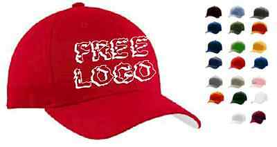 100 Custom Embroidered FLEXFIT Fitted Cap STRETCH Hat FREE LOGO Embroidery * NEW