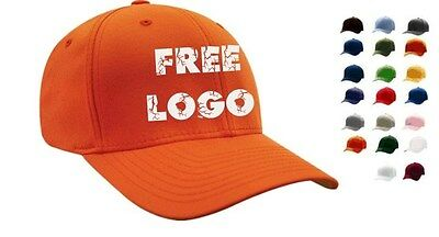 24 Custom Embroidered FLEXFIT Fitted Cap STRETCH Hat FREE LOGO Embroidery * NEW