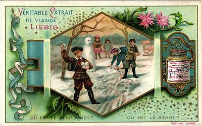6 cards c1898 Litho Puzzles Hidden Objects Children Playing Snowman Blind Man