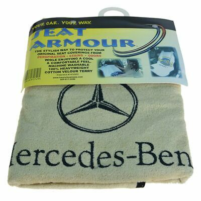 OEM Seat Towel Cover Beige Terry Cloth Seat Armour w/ Logo for Mercedes Benz New