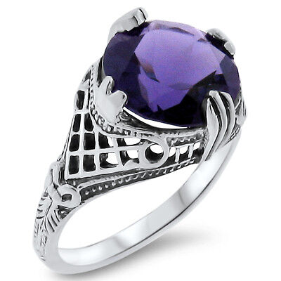 4 Ct. PURPLE LAB AMETHYST ANTIQUE STYLE .925 STERLING SILVER FILIGREE RING, #361