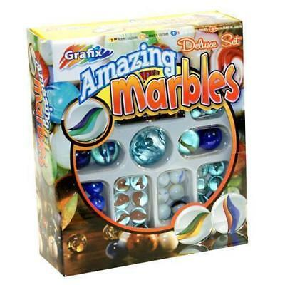 New Amazing Marbles Deluxe Set 151 Assorted Glass Marbles & Games Booklet Grafix