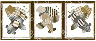 "A set of 3 ""Kent Airplanes/Aviator"" 8x10 Nursery Art Prints"