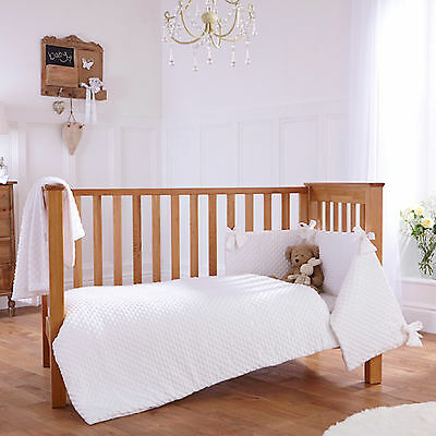 New Clair De Lune Dimple White Cot / Cot Bed 3 Piece Bedding Bale Set