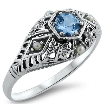 Sim Aquamarine Pearl Antique Deco Style .925 Sterling Silver Filigree Ring, #369