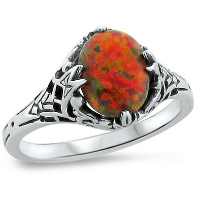 Orange Lab Fire Opal Antique Art Deco Style .925 Sterling Silver Ring,      #245