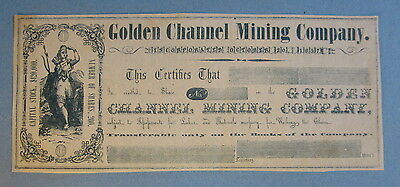 Old 1850's GOLDEN CHANNEL MINING Company - Stock Certificate - CALIFORNIA