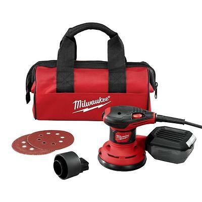 "New Milwaukee 6034-21 Electric 5"" Random Orbital Palm Sander Kit With Bag Sale"