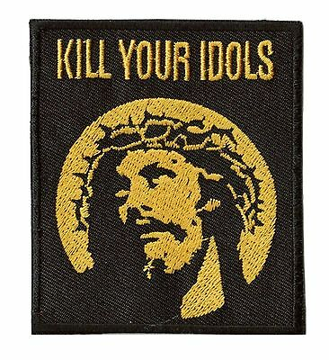 Patch écusson patche KILL YOUR IDOLS thermocollant Jésus brodé