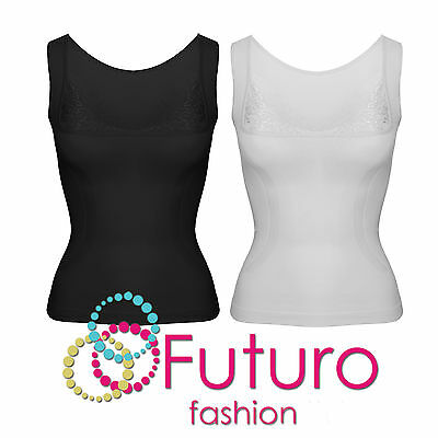 Vest Top With Lace Body Shaper Underwear Slimming T-Shirt Sizes S - XL FG3102