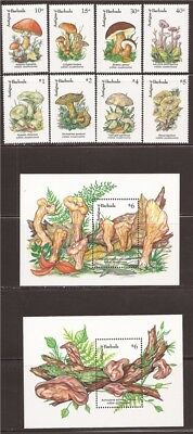Antigua - 1992 Mushrooms - 8 Stamp Set + 2 S/S - Scott #1519-28