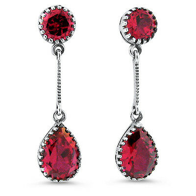 6 Ct Lab Ruby Victorian Antique Design 925 Sterling Silver Earrings,   #656