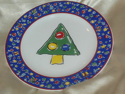 """1995 BLOCK BASICS CHRISTMAS PARTY 8"""" SALAD PLATE TREE WITH ORNAMENTS RED YELLOW"""