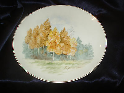 "K YAMAUCHI JAPAN SIGNED  10"" PLATE LANDSCAPE SCENE YELLOW BIRCH TREES"
