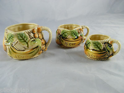 Vintage ~ Hand Painted ~ Tilso ~ Japan Measuring Cup Set ~ 1 Cup 1/2 Cup 1/4 Cup