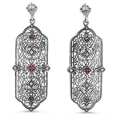 Genuine Ruby Pearl Antique Art Deco Design 925 Sterling Silver Earrings,    #423