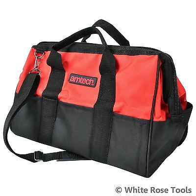 Am-Tech N0550 22 Pockets Contractors Tool Storage Bag Holdall Hard Base