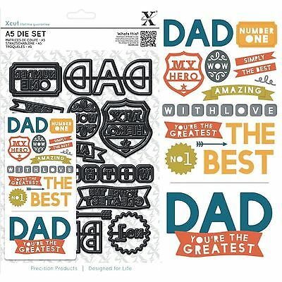 Docrafts Xcut A5 The Best Dad Text 14 Piece Cutting Die Set Good For Fathers Day