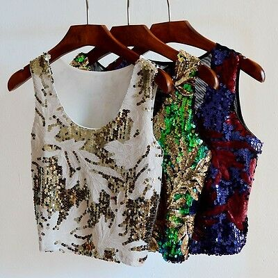 Womens Fashion Sequins Chiffon Lace Top Tank O- Neck Blouse Bling Vest T-Shirt