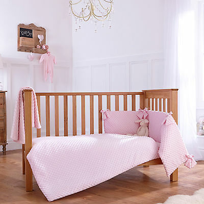 New Clair De Lune Dimple Pink Cot / Cot Bed 3 Piece Bedding Bale Set