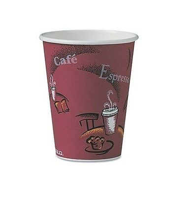 Solo Hot Drink Cups 12oz Maroon 300ct Paper Bistro Design - Free Shipping - New
