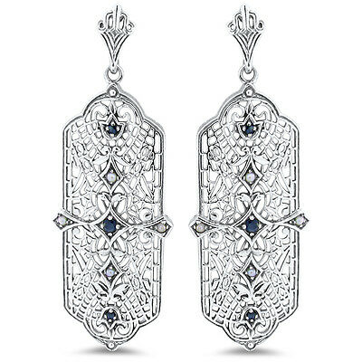 Genuine Sapphire Antique Deco Design .925 Sterling Silver Filigree Earrings,#130